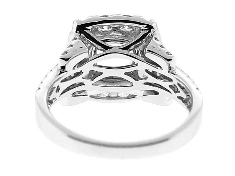 Square Halo, Double to Quadruple Row shank, Diamond Engagement Semi Mount White Gold Ring Setting