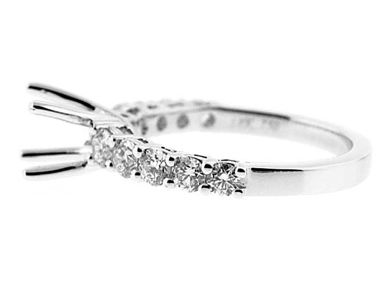 Semi-Mount Engagement Ring with Prong Set Round Diamonds in 18k White Gold