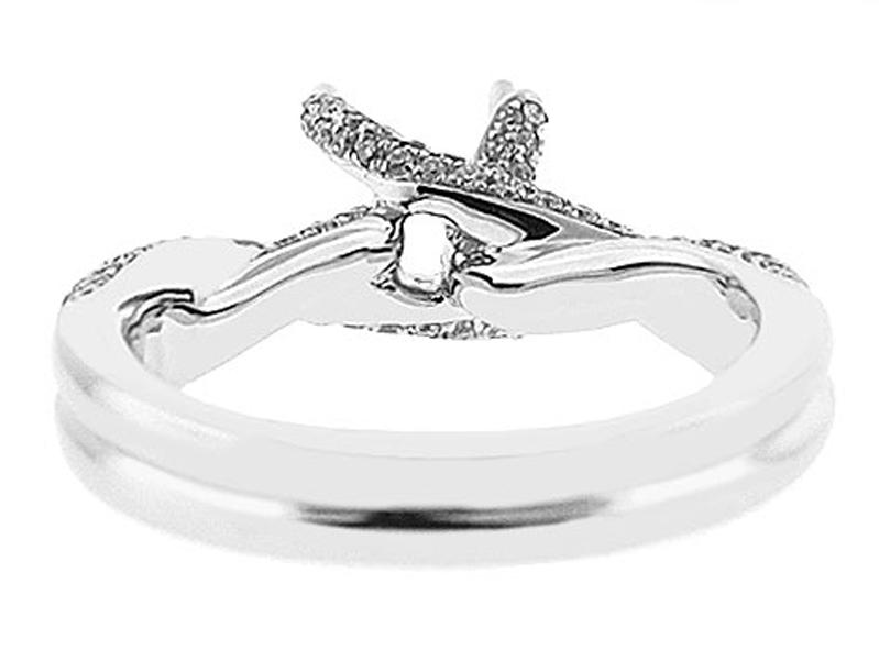 Crossover Twist Shank Semi-Mount Engagement Ring with Pav?? Set Round Diamonds Set in 18k White Gold