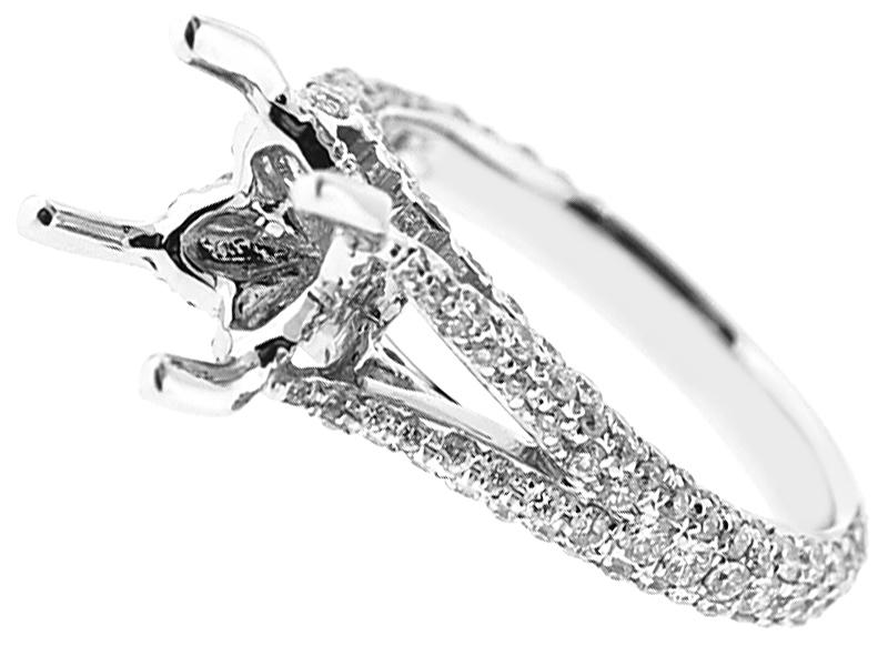 Semi-Mount Split Shank Engagement Ring with Pav?? Set Diamonds in 18k White Gold