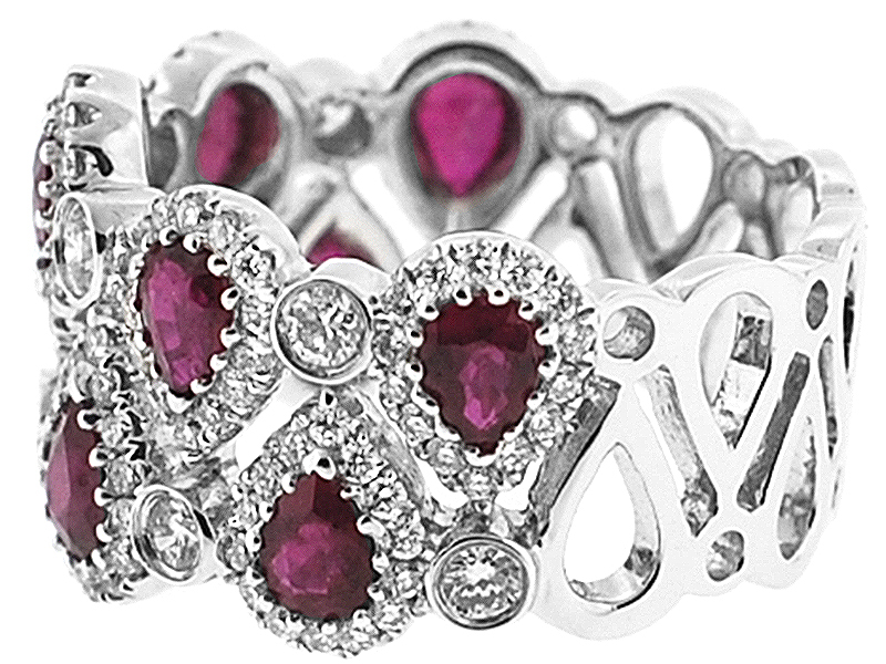 Right Hand Fashion Ring with Pear Shaped Rubies and Bezel Set Diamond Rounds in 18K White Gold