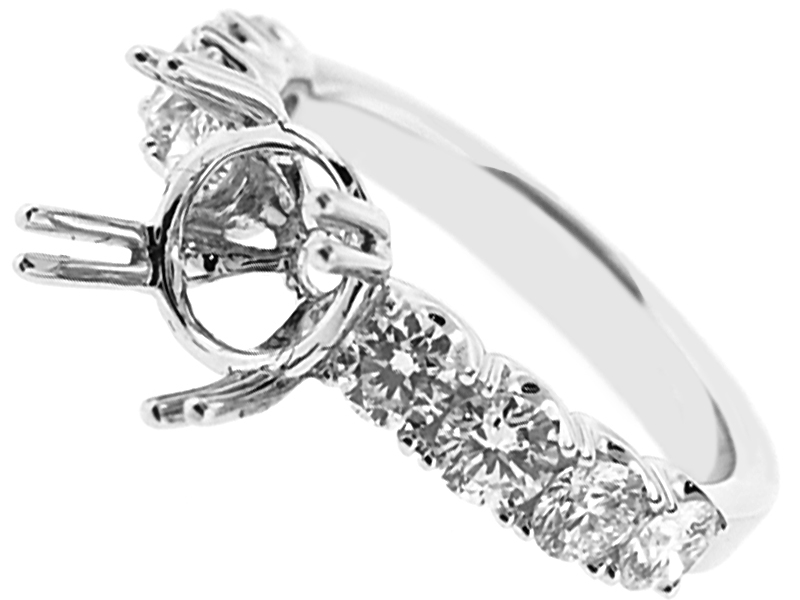 Single Row Diamond Engagement Ring with Basket Center in 18K White Gold