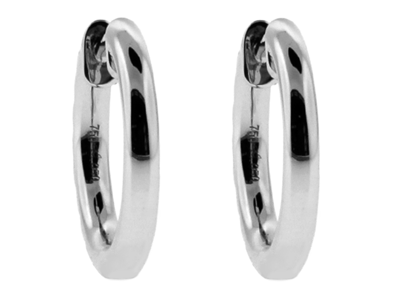 Small Diamond Thin Hoop Style Huggie Earring in 18kt White Gold