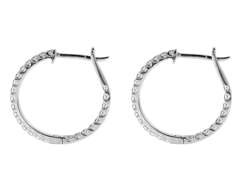 Inside/Outside Diamond Hoop Earrings in 18k White Gold