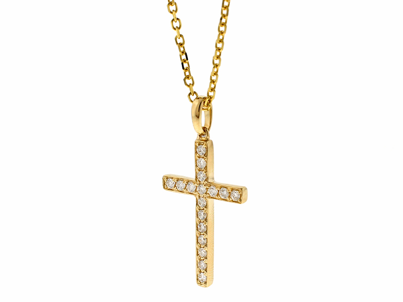 Cross Pendant with Diamonds in 14k Yellow Gold