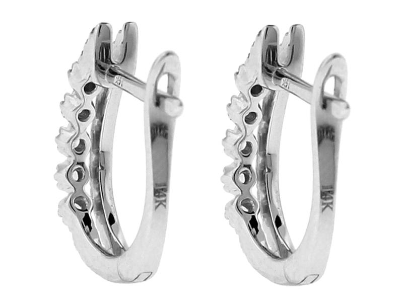 Huggie Earrings - Diamond Double Row in 14k White Gold