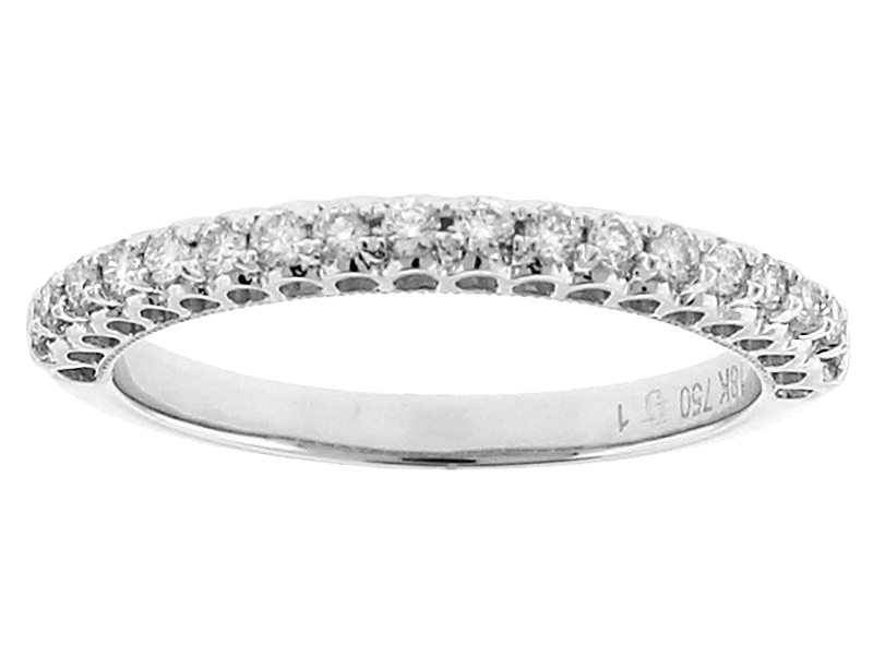 Single Row Wedding / Anniversary Band with Openwork Design and Diamonds in 18k White Gold