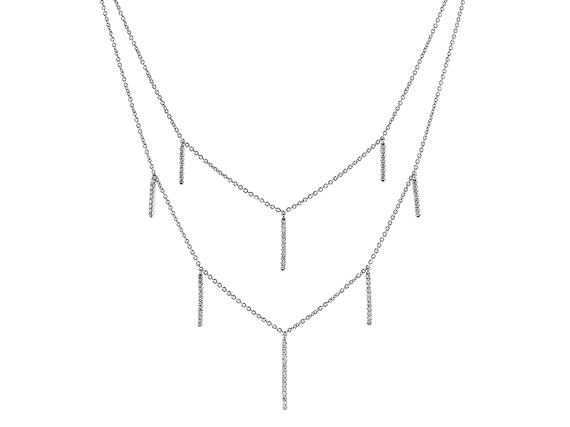Double Layer Necklace with Vertical Bars of Diamonds in 14k White Gold