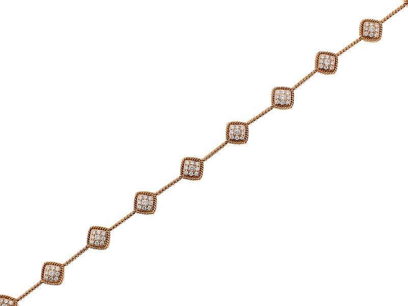 Ladies Diamond Tennis Bracelet with Rope Design in 18k Rose Gold
