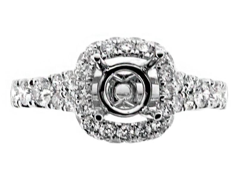 Cushion Halo, Graduating Shank Diamond Engagement Ring Semi Mount in 18kt White Gold