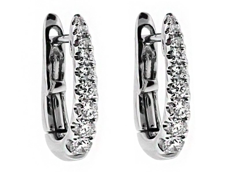 Small Graduating Diamond Thin Huggie Style Hoop Earring in 18kt White Gold