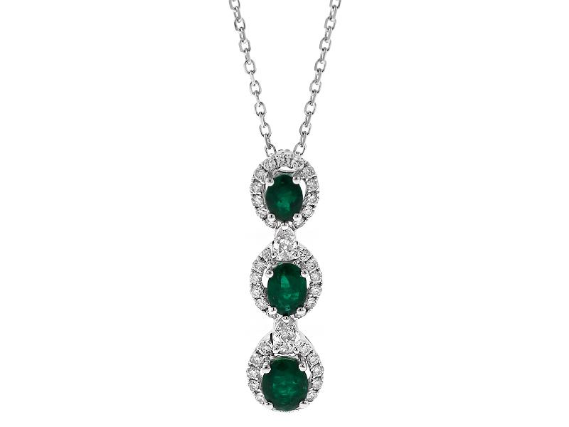 Three Tier Emerald Pendant with Halos of Diamonds in 18k White Gold