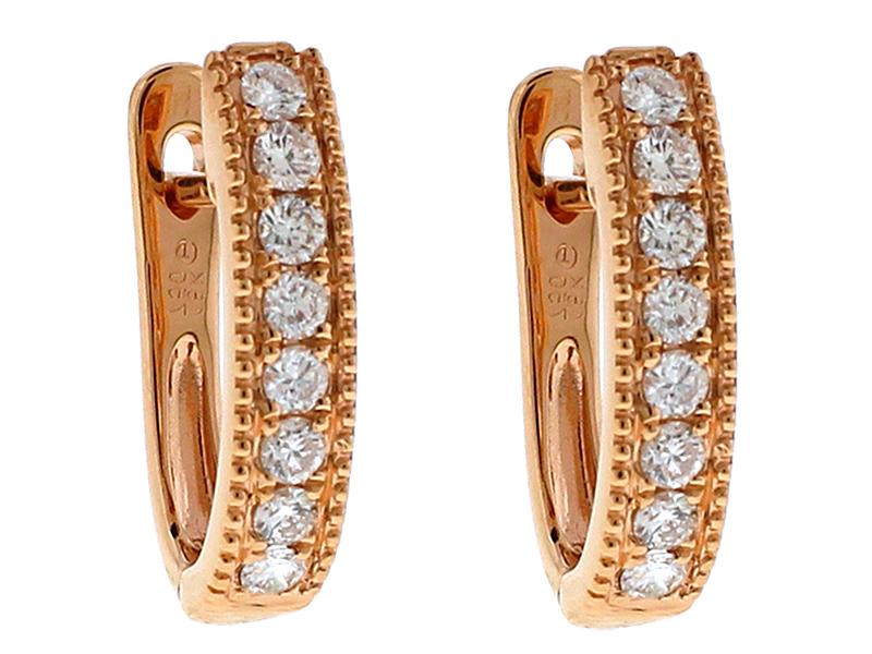 18k Rose Gold Huggie Earrings with Diamonds Between Milgrain Design