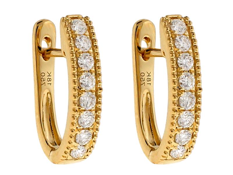 18k Yellow Gold Huggie Earrings with Diamonds Between Milgrain Design