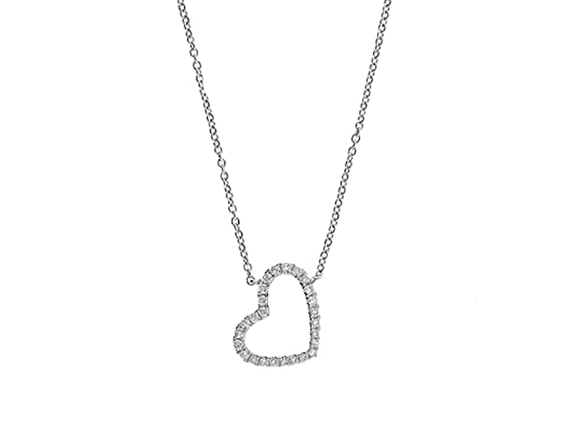 Diamond Heart Necklace in 18kt White Gold