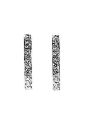 Half Moon Curved Hoop Earrings with Diamonds Set in 18k White Gold