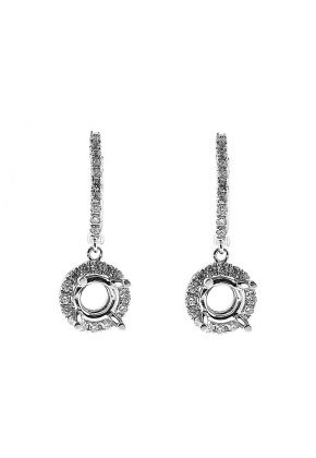 Round Halo Style Dangling Earrings with Diamonds Set in 18k White Gold