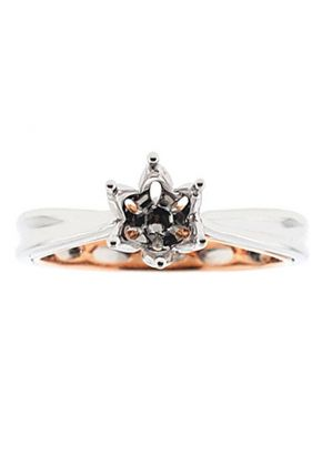 Two-Tone Solitaire Engagement Ring with 18k White Gold Outside and Rose Gold Inside