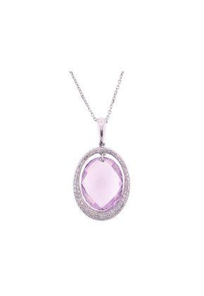 Amethyst Oval Pendant with Single Halo of Pav?? Set Diamonds in 18K White Gold