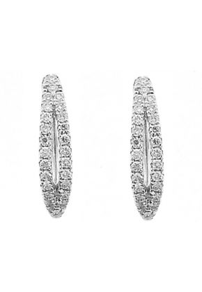 Huggie Earrings with Round Diamonds Set in 18k White Gold