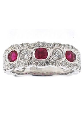3 Stone Channel Set Ruby Right Hand Fashion Ring with Bezel Set Diamond Rounds in 18K White Gold