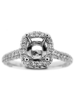 Semi-Mount Square Halo Engagement Ring with Pav?? Set Diamonds in 18k White Gold