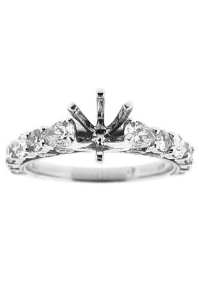 6 Prong Semi Mount Milgrain Engraved Engagement Ring with Bezel and Prong Set Round and Pear Shaped Diamonds in 18k White Gold