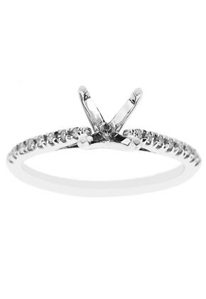 Semi-Mount Engagement Ring with Micro Prong Set Round Diamonds in 18k White Gold