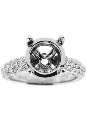 Semi-Mount Engagement Ring with Micro-Pav?? Set Round Diamonds in 18k White Gold
