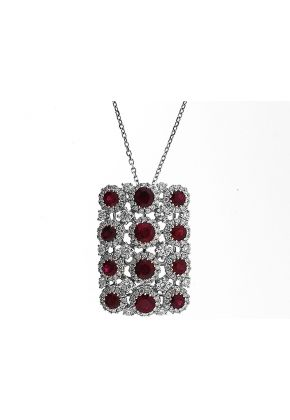 Ruby Rectangular Pendant with Diamond Rounds Set in 18K White Gold