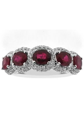 Ruby 5 Stone Right Hand Fashion Ring with Diamond Rounds in 18K White Gold