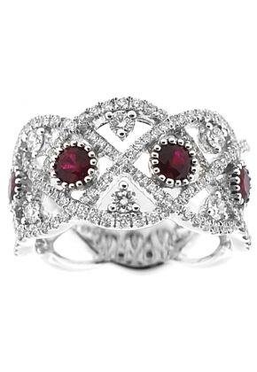Right Hand Fashion Ring with Rubies Surrounded by Beaded Milgrain and Diamond Rounds in 18K White Gold