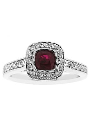 Right Hand Fashion Ring with Ruby Center Bordered by Beaded Milgrain and Diamond Halo in 18K White Gold