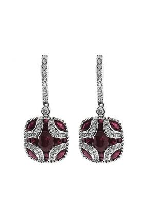 Ruby Dangling Earrings with Diamond Rounds Going Down Post and Bordered w/ Beaded Milgrain in 18K White Gold