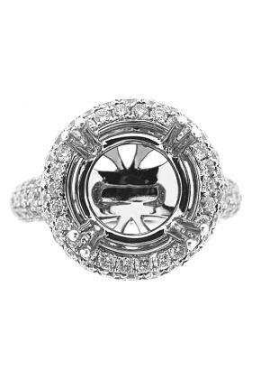 Round Halo Diamond Engagement Ring in 18K White Gold