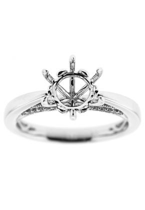 Solitaire Diamond Engagement Ring with 6 prong center in 18K White Gold