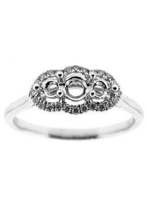 Past Present and Future Halo Diamond Engagement Ring in 18K White Gold