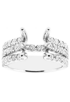 Semi Mount Triple Row Engagement Ring with Diamonds Set in 18k White Gold