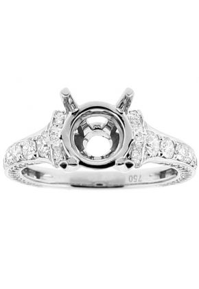 Semi Mount Triple Side Graduated Diamond Encrusted Engagement Ring in 18k White Gold