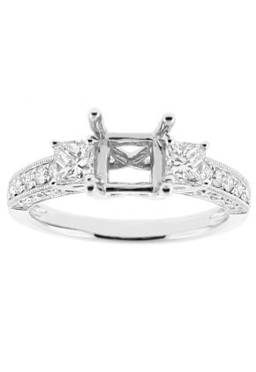 Semi Mount Three Stone Triple Side Engagement Ring with Princess Cut and Round Diamonds Bordered by Beaded Milgrain in 18kt White Gold