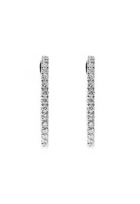 Inside Out Hoop Earrings with Diamonds in 18kt White Gold