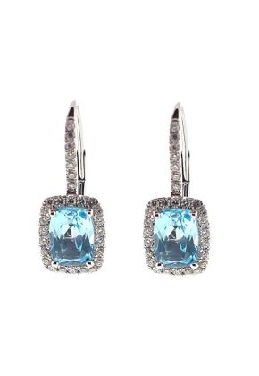 Rectangle Cushion Aquamarine Leverback Dangling Earrings with Diamond Halo in 18K White Gold