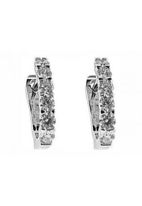 Latch Back Huggie Earrings with Diamonds Set in 18k White Gold