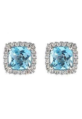 Cushion Cut Aquamarine Post Back Stud Earrings with Single Diamond Halo Set in 18K White Gold
