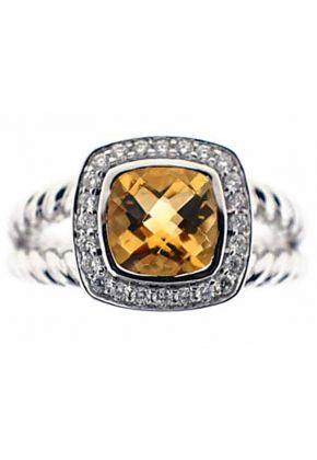 Cushion Citrine Diamond Halo Roped Split Shank Ring 18kt White Gold