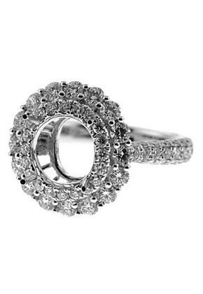 Semi-Mount Diamond Engagement Ring with Diamond Encrusted Shank and Double Halo in 18k White Gold