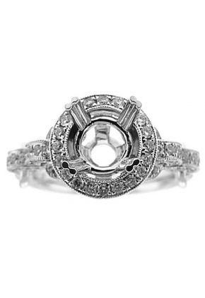 Semi-Mount Crossover Twist Shank Engagement Ring with a Round Halo and Diamonds Set in 18k White Gold