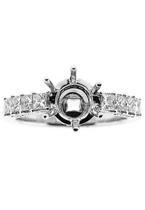 Prong Set Princess Diamonds, Side Profile Trimmed with Round Diamonds, Engagement Semi Mount White Gold Ring Setting