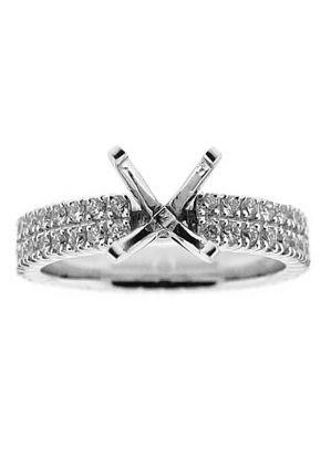 Thin Two Row Micro Prong Set Eternity Style Diamond Semi Mount Engagement Ring Setting