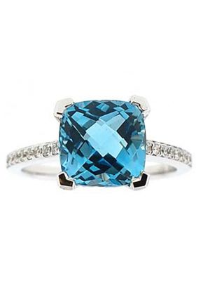 Cushion Cut Blue Topaz Right Hand Fashion Ring with Diamond Rounds Set in 18K White Gold